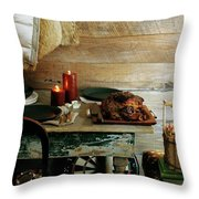 Pork With Candles Throw Pillow