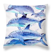 Porpoise Play Throw Pillow by Carey Chen