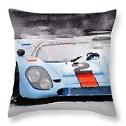 Porsche 917 Gulf Watercolor Throw Pillow