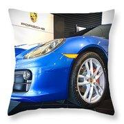 Porsche Cayman S In Sapphire Blue Throw Pillow