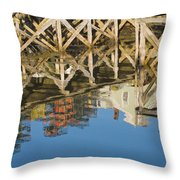 Port Clyde Maine Lobster Traps Reflecting In Water Throw Pillow
