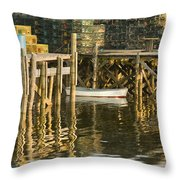 Port Clyde Maine Small Boat And Harbor Throw Pillow