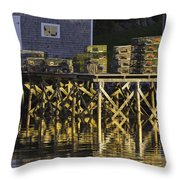 Port Clyde Pier On The Coast Of Maine Throw Pillow