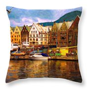 Port Life Watercolor Throw Pillow