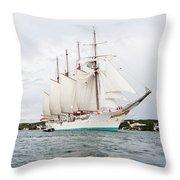 Juan Sebastian De Elcano Famous Tall Ship Of Spanish Navy Visits Port Mahon In Front Of Bloody Islan Throw Pillow