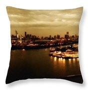 Port Miami Golden Photopaint Throw Pillow
