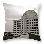 Port Of Galveston Building In B And W Throw Pillow