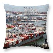 Port Of Long Beach Throw Pillow