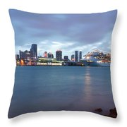Port Of Miami At Dusk Throw Pillow