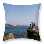 Port Of The Myloi And Dolphins - Rhodos Citys Throw Pillow