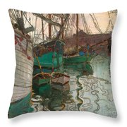 Port Of Trieste Throw Pillow by Egon Schiele