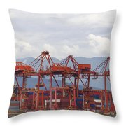 Port Of Vancouver Bc Cranes And Containers Throw Pillow