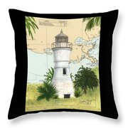 Port Pontchartrain Lighthouse La Chart Map Art Throw Pillow