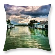 Storm Clouds Over  Port Royal Boathouses In Naples Throw Pillow