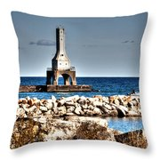 Port Washington Breakwater Light Throw Pillow