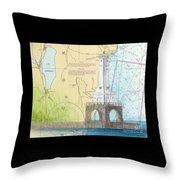Port Washington Lighthouse Wi Nautical Chart Map Art Throw Pillow