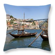 Port Wine Boats In Porto City Throw Pillow