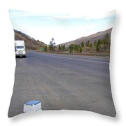 Porta Potty Rest Area Throw Pillow