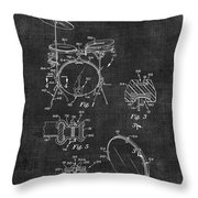 Portable Drum Set Patent 037 Throw Pillow