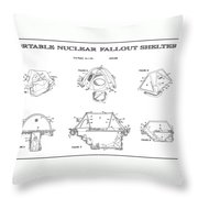 Portable Nuclear Fallout Shelters 4 Patent Art 1986 Throw Pillow
