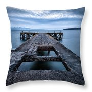 Portencross Pier  And Views To Arran Throw Pillow