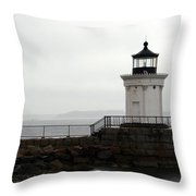Portland Breakwater Light On A Hazy Day - Maine Throw Pillow