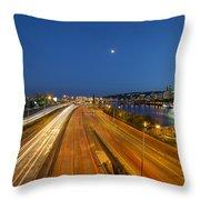 Portland City Blue Hour Throw Pillow