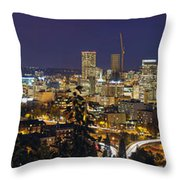 Portland Cityscape And Freeway At Blue Hour Throw Pillow