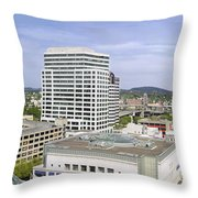 Portland Downtown Cityscape With River And Mountain Throw Pillow