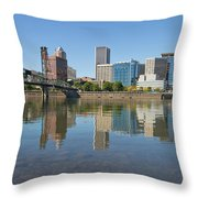 Portland Downtown Skyline And Hawthorne Bridge Throw Pillow