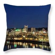 Portland Downtown Skyline At Blue Hour Throw Pillow