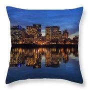 Portland Downtown Skyline At Blue Hour Panorama Throw Pillow