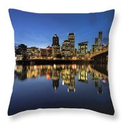Portland Downtown Skyline By Hawthorne Bridge At Blue Hour Panor Throw Pillow