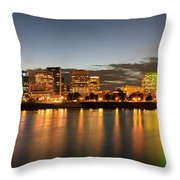Portland Downtown Skyline Night Panorama Throw Pillow