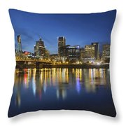 Portland Downtown With Hawthorne Bridge At Blue Hour Throw Pillow