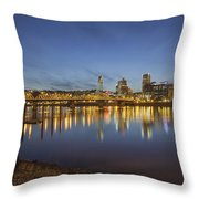 Portland Downtown With Hawthorne Bridge At Dusk Throw Pillow