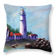 Portland Head In Shade Throw Pillow