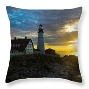 Portland Head Light At Dawn Throw Pillow