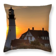 Portland Head Light At Sunrise IIi Throw Pillow