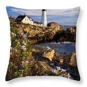 Portland Head Light Throw Pillow by Brian Jannsen