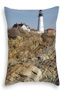 Portland Head Light - Cape Elizabeth Maine Throw Pillow