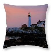 Portland Head Lighthouse At Daybreak Throw Pillow