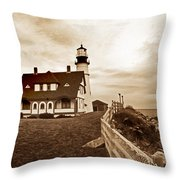 Portland Head Lighthouse In Sepia Throw Pillow