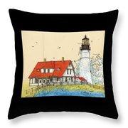 Portland Head Lighthouse Me Nautical Chart Map Art Throw Pillow