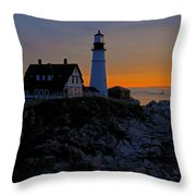 Portland Head Lighthouse Sunrise 2 Throw Pillow