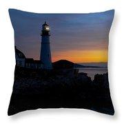 Portland Head Lighthouse Sunrise Throw Pillow