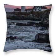 Portland Head Lighthouse Sunset Throw Pillow