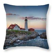 Portland Headlight Sunset Throw Pillow