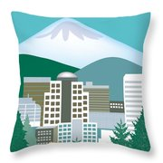 Portland Oregon Vertical Skyline Throw Pillow