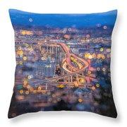 Portland Marquam Freeway With Bokeh Lights Throw Pillow